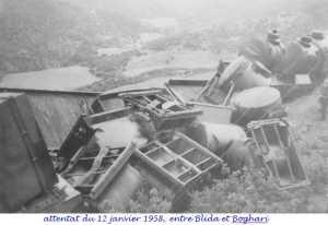 l'attentat du 12 janvier 1958 entre BLIDA et BOGHARI