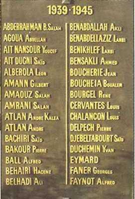 Plaques du Monument aux Morts de Bougie