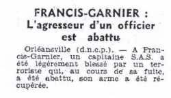 30 Octobre 1956  SAS de Francis-Garnier
